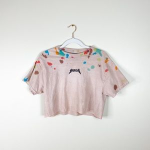 YEEZUS gildan crop top custom dyed tee t-shirt M